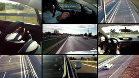 Driving car montage stock video