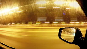 Driving a car at night in the city. Time lapse.  stock footage
