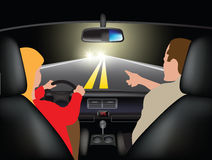 Driving a car at night. Driving course at night - young woman driving car with instructor. Vector illustration Royalty Free Stock Images