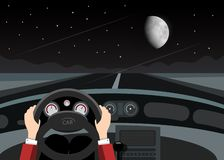 Driving Car on Night with Empty Road, Stars and Moon. On Dark Sky royalty free illustration