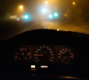 Driving car at night Royalty Free Stock Images