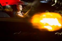 Driving a car at night Royalty Free Stock Photography