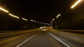 Driving a car at night stock footage