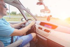 Driving a car - passenger seat view Royalty Free Stock Photo