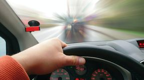 Driving a Car POV Stock Photography