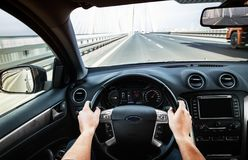 Driving car pov on a highway - Point of View Royalty Free Stock Photos