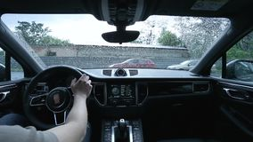 Driving the car in rainy weather interior view.  stock video footage