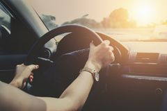 driving car on road with sunset Stock Photos