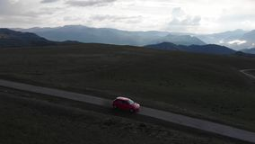 Driving car on road to the mountain. Beautiful Summer Mountain Road. stock video