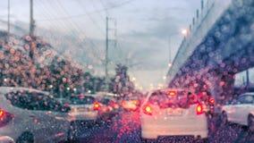 Traffic jam in rainny day Stock Photos