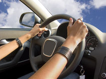 Driving a car in the sky Stock Photography