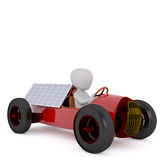 Driving car on solar panels. Figure of faceless 3D man driving old-fashioned racing car with solar panels installed on it, render isolated on white background Royalty Free Stock Photos