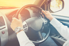 Driving car , steering wheel of a car Royalty Free Stock Photo