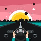 Driving Car on Street with Sunset City. On Background stock illustration
