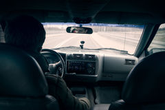 Driving a car - third person view. Driving a car - shot from third person perspective stock images