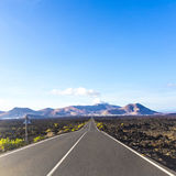 Driving by car in the Timanfaya Stock Photos