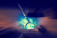 Driving a car in the tunnel royalty free stock images