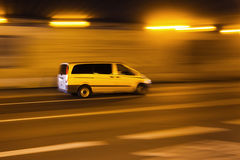Driving car in a tunnel in motion blur Royalty Free Stock Image