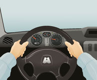 Driving of a car. Vector illustration Stock Images