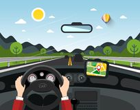 Driving Car Vector Illustration with Hills. On Background. Automobile on Road with Pin on GPS Navigation stock illustration