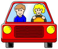Driving the car. Vector illustration of a woman and a man driving in the car together Royalty Free Stock Photo