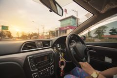 Driving car in wide filed. royalty free stock photo
