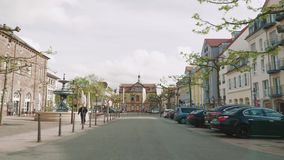 Driving in the center of Rastatt city stock video footage