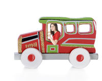 Driving a Christmas Car Cutout Stock Images