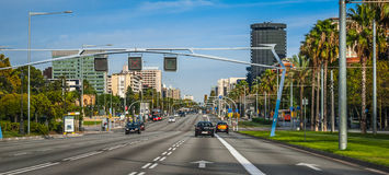 Driving into the city of Barcelona. Royalty Free Stock Photos