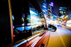 Driving Through City Lights Royalty Free Stock Image