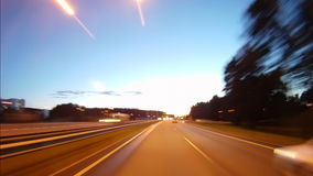 Driving the city at night. Time-lapse stock video