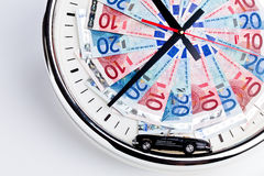 Driving on a clock Royalty Free Stock Photo