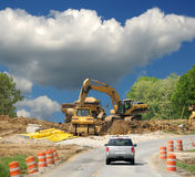 Driving By Construction Zone stock photos