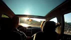 Driving on a country road stock video footage