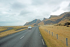 Driving in the countryside from Iceland Stock Photos