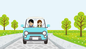 Driving  Couple -spring road - EPS10 Stock Photography