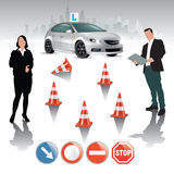 Driving course. Learner driver girl with instructor taking lessons. Vector illustration Royalty Free Stock Image