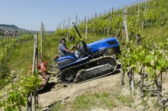 Driver on crawler tractor, climbs steeply up into the vineyards Stock Photography