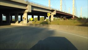 Driving on curve road stock video footage