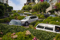 Driving in curvy Lombard street, San Francisco Royalty Free Stock Photo
