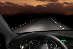 Driving in the dark Stock Photo