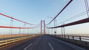 Driving on a 25 de Abril Bridge in Lisbon stock video