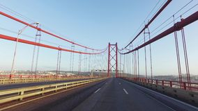 Driving on a 25 de Abril Bridge in Lisbon stock video footage