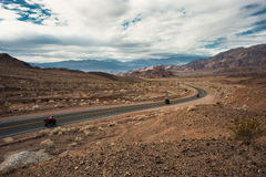 Driving through the death valley highway Stock Image