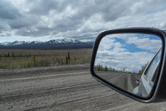 Driving through Denali Stock Photo