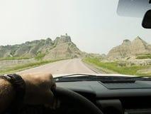 Driving in Desert Stock Image