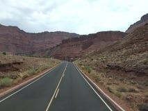 Driving through the desert in the summertime