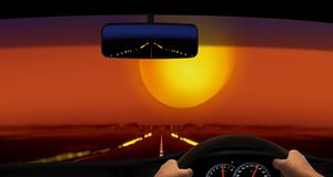 Driving in the Desert During Sunset Royalty Free Stock Photos