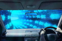 Driving in a digital tunnel Royalty Free Stock Photography