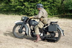 Driving a DKW 350-1. DKW 350-1 located near Omaha Beach 2014 Stock Photography
